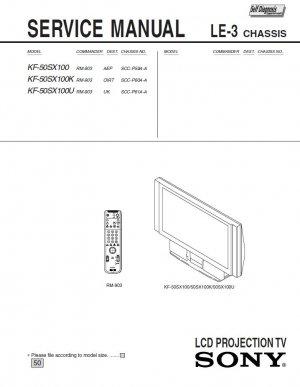 SONY KF-50SX100 KF-50SX100K KF-50SX100U TV SERVICE REPAIR MANUAL