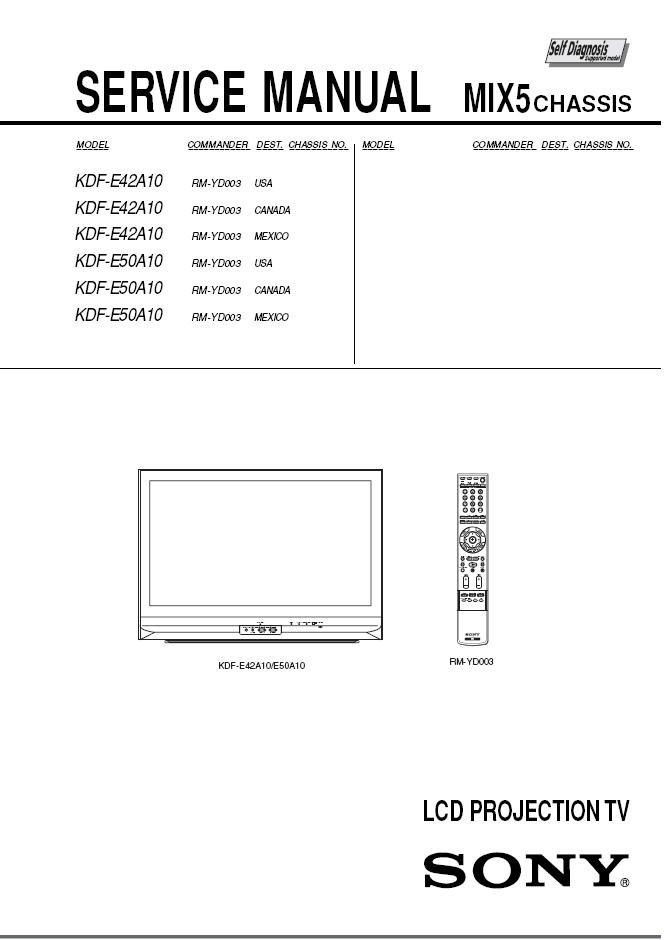 sony kdf e42a10 kdf e50a10 lcd tv service repair manual rh ecrater com Sony KDF-E42A10 Problems sony kdf-e42a10 user manual