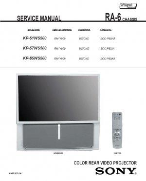 SONY KP-51WS500 KP-57WS500 KP-65WS500 TV SERVICE REPAIR MANUAL