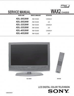 SONY KDL-26S2000 KDL-32S2000 KDL-40S2000 TV SERVICE REPAIR MANUAL