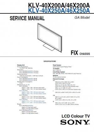 sony klv 40x200a klv 46x200a klv 40x250a klv 46x250a tv service rh cheapservicemanuals ecrater com sony wega tv repair manual sony bravia repair manual
