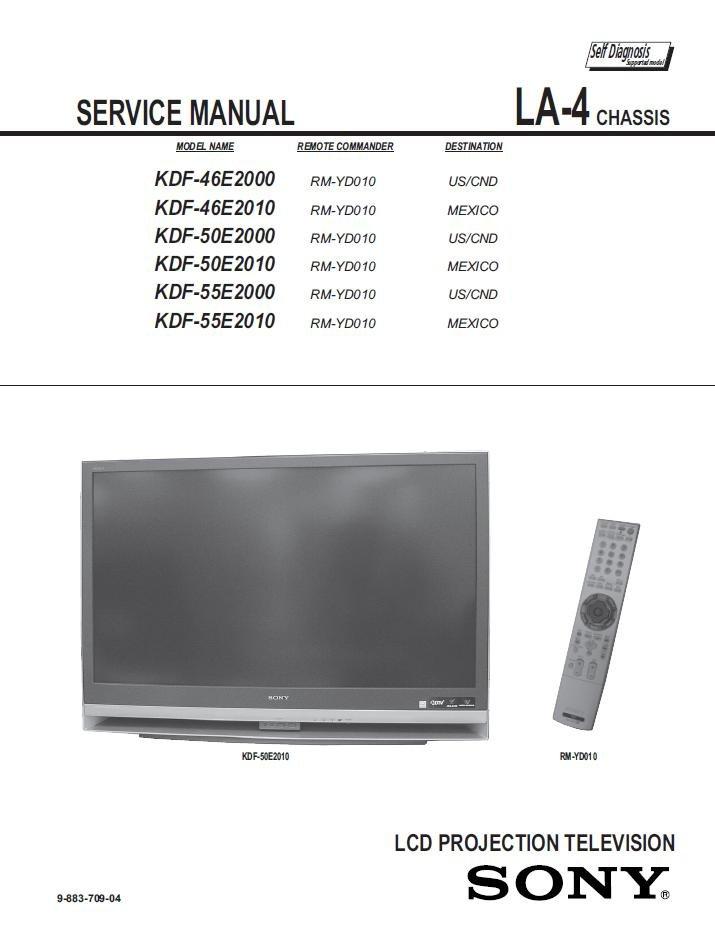 Sony Kdf 46e2000 Kdf 46e2010 Kdf 50e2000 Kdf 50e2010 Kdf