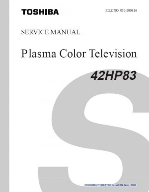 TOSHIBA 42HP83 PLASMA TV FACTORY SERVICE REPAIR MANUAL