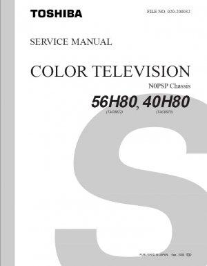 TOSHIBA 40H80 56H80 TV SERVICE REPAIR MANUAL