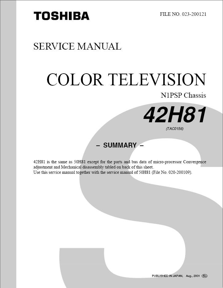 toshiba 42h81 projection tv service repair manual