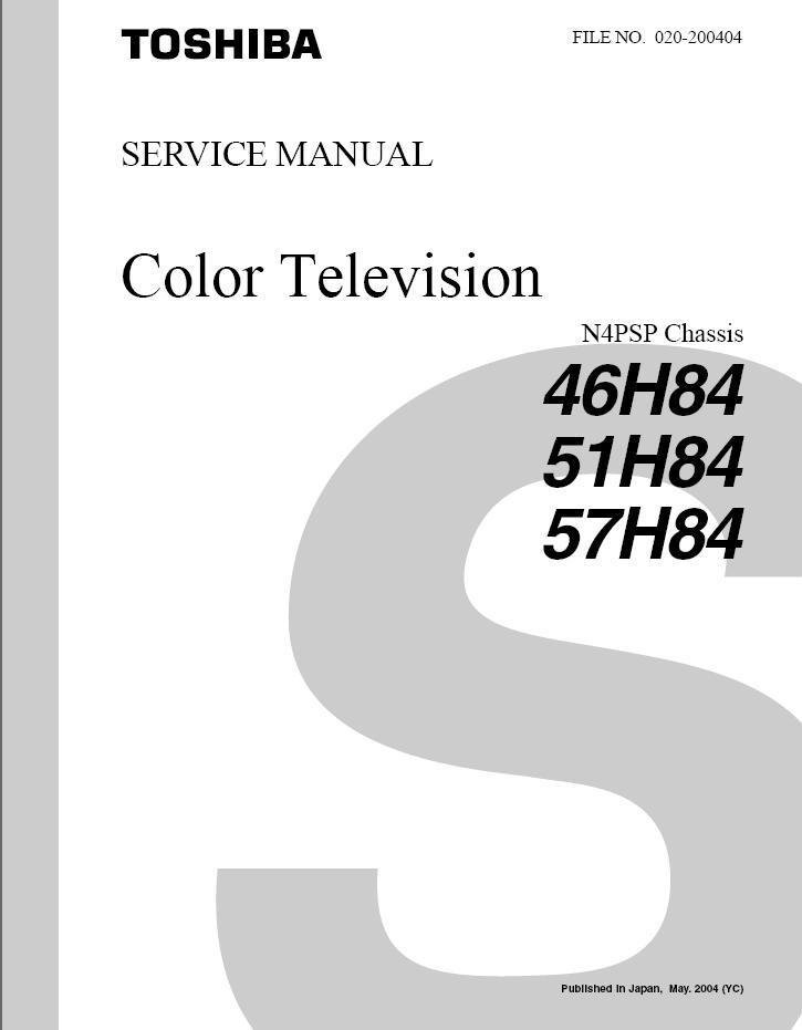 Toshiba 46h84 51h84 57h84 Tv Service Repair Manual