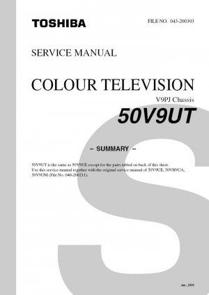 TOSHIBA 50V9UT PROJECTION TV SERVICE REPAIR MANUAL V9PJ