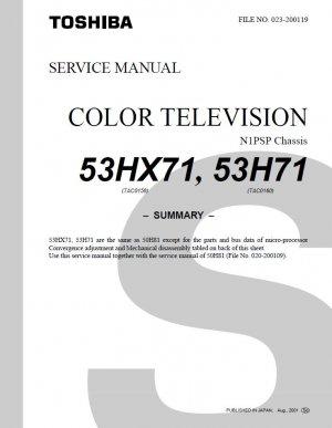 TOSHIBA 53HX71 53H71 TV SERVICE REPAIR MANUAL