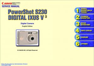 CANON POWERSHOT S230 IXUS V3 DIGITAL CAMERA SERVICE REPAIR MANUAL
