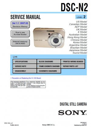 SONY DSC-N2 DIGITAL CAMERA SERVICE REPAIR MANUAL