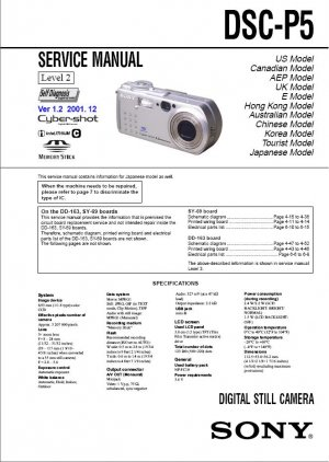 SONY DSC-P5 DIGITAL CAMERA SERVICE REPAIR MANUAL