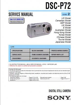 SONY DSC-P72 DIGITAL CAMERA SERVICE REPAIR MANUAL