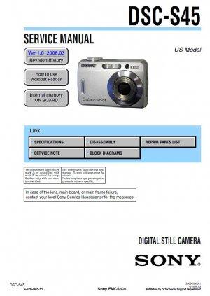 SONY DSC-S45 DIGITAL CAMERA SERVICE REPAIR MANUAL