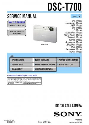SONY DSC-T700 DIGITAL CAMERA SERVICE REPAIR MANUAL