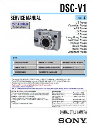 SONY DSC-V1 DIGITAL CAMERA SERVICE REPAIR MANUAL