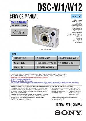 SONY DSC-W1 DSC-W12 DIGITAL CAMERA SERVICE REPAIR MANUAL