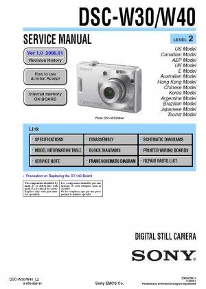 SONY DSC-W30 DSC-W40 DIGITAL CAMERA SERVICE REPAIR MANUAL
