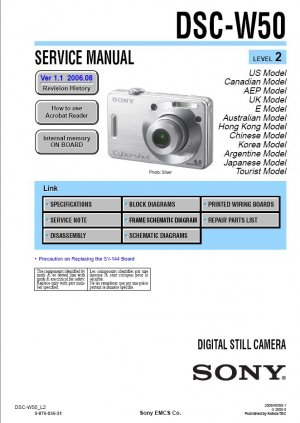 SONY DSC-W50 DIGITAL CAMERA SERVICE REPAIR MANUAL