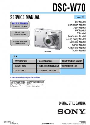 SONY DSC-W70 DIGITAL CAMERA SERVICE REPAIR MANUAL