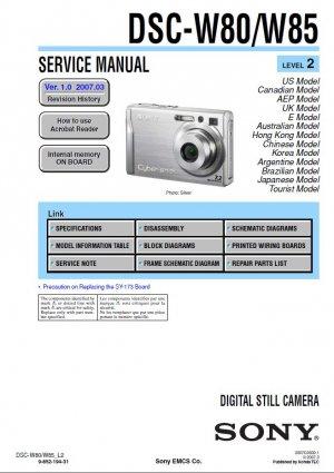 SONY DSC-W80 DSC-W85 DIGITAL CAMERA SERVICE REPAIR MANUAL