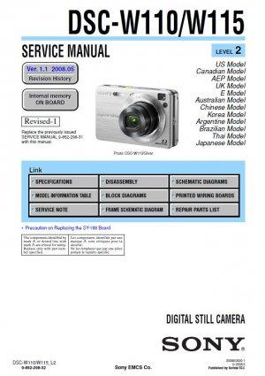 SONY DSC-W110 DSC-W115 DIGITAL CAMERA SERVICE REPAIR MANUAL