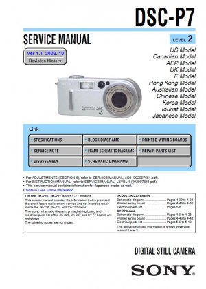 SONY DSC-P7 DIGITAL CAMERA SERVICE REPAIR MANUAL