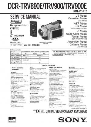 SONY DCR-TRV890E DCR-TRV900 DCR-TRV900E CAMCORDER SERVICE REPAIR MANUAL