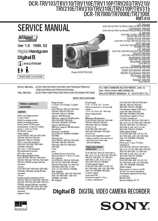 Sony dcr trv110e