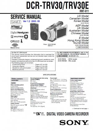 SONY DCR-TRV30 DCR-TRV30E CAMCORDER SERVICE REPAIR MANUAL