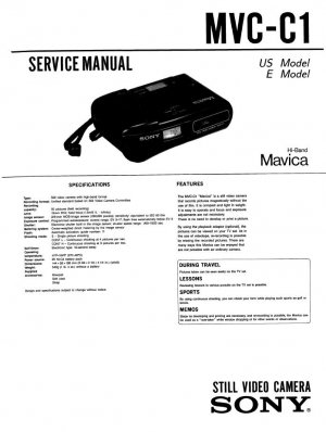 SONY MAVICA MVC-C1 VIDEO CAMERA SERVICE REPAIR MANUAL