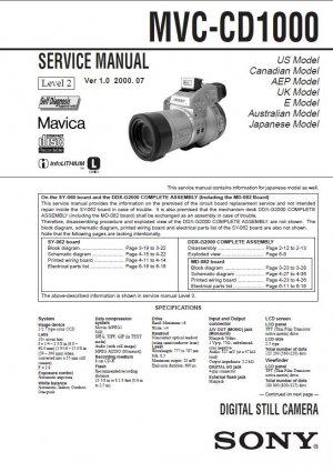 SONY MAVICA MVC-CD1000 VIDEO CAMERA SERVICE REPAIR MANUAL