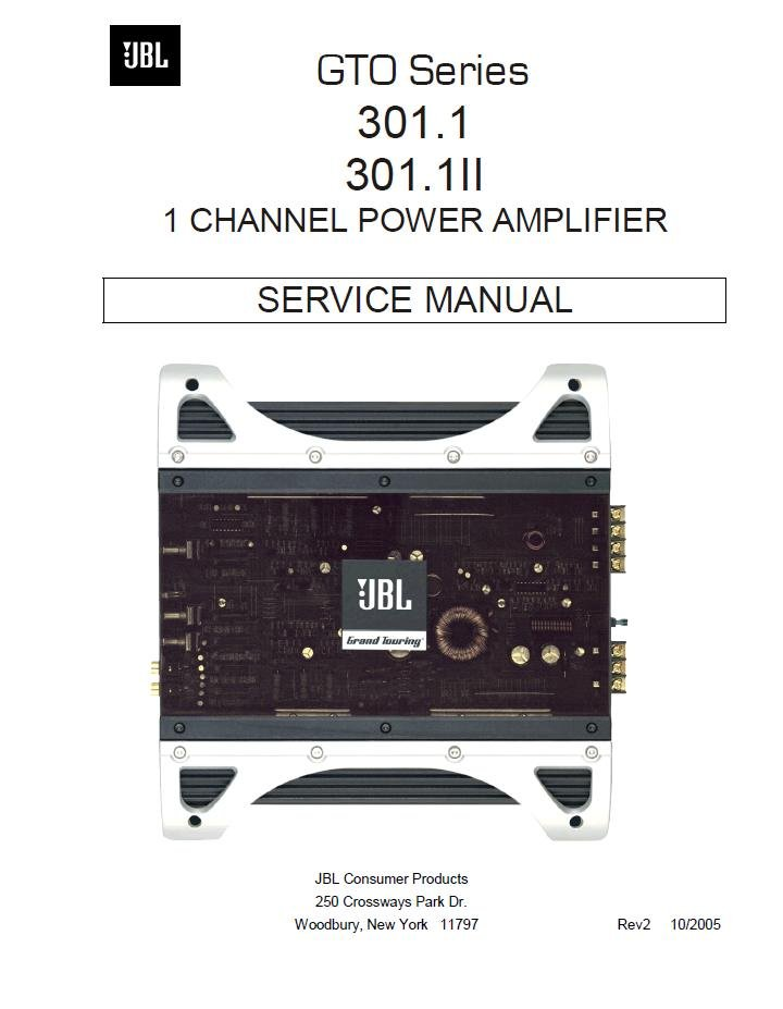 JBL AMPLIFIER GTO 301.1 301.1II SERVICE REPAIR MANUAL