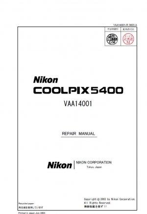 NIKON COOLPIX 5400 DIGITAL CAMERA SERVICE REPAIR MANUAL