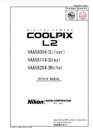 NIKON COOLPIX L2 DIGITAL CAMERA SERVICE REPAIR MANUAL