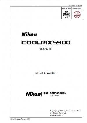 NIKON COOLPIX 5900 DIGITAL CAMERA SERVICE REPAIR MANUAL
