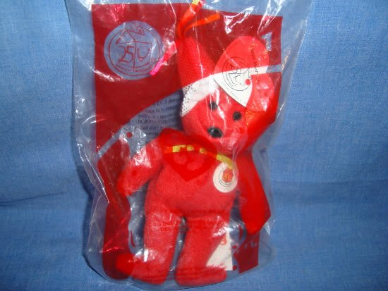 NEW McDonalds Happy Meal Toy 25th Red Ty Teenie Beanie Bear Years Happiness # 1