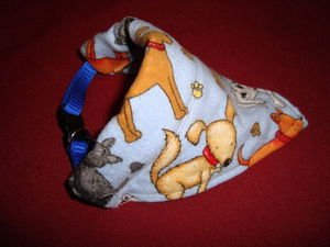 Small Breed Dog Bandana Collar Cover Handmade Dog Print Small Puppy Blue Brown