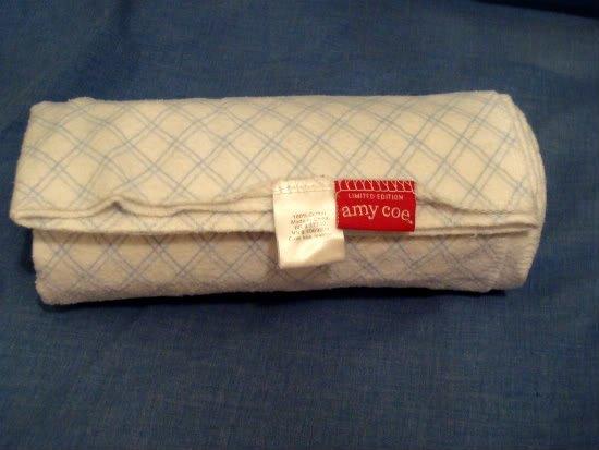 "Amy Coe Target baby White/Blue Stripe Receiving Blanket 38"" x 32"" cotton Striped"