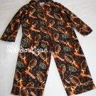 Lazy Jakes Boys Pajamas PJs Brown Orange 4T 4 Football 2 Pieces Long Sleeve warm