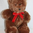 """The Childrens Place Bear Brown Plush Red Velvet Bow Stuffed Animal Lovey Toy 9"""""""