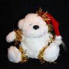 """Flomo White Plush Teddy Bear Red Christmas Santa Cap Friends Forever 6"""" New"""