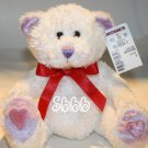 "Caltoy Kohls Plush Teddy Bear Valentines White Red Sparkle Stuffed Toy 7"" New"