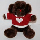 Dan Dee Stuffed VALENTINE TEDDY BEAR Dark Brown White Heart Red Sweater Plush 9""