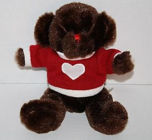 "Dan Dee Stuffed VALENTINE TEDDY BEAR Dark Brown White Heart Red Sweater Plush 9"""