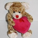 "Flomo Valentine Day TEDDY BEAR 5"" Brown Plush Pink Heart Stuffed Friends Forever"