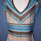 Delias MEDIUM Blue Tan Striped Pullover T V Neck Short Sleeves Shirt TOP Tee