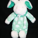 "Fukei Green Flower Cloth White Plush EASTER BUNNY RABBIT 11"" Stuffed soft Toy"