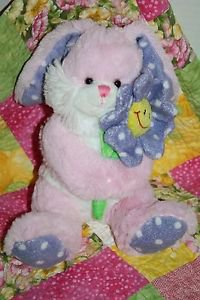 Kellytoy EASTER BUNNY RABBIT Stuffed Pink Purple Plush Smile Flower Soft Toy 10""