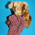 """Animal Alley Brown Plush PUPPY DOG 10"""" Stuffed Red Plaid Boxer Shorts Soft Toy"""
