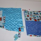 Set of 2 Security Blanket Burp Cloth Trucks Vehicles Blue Minky Dots All Sewn Up